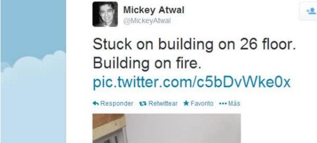 Twitta da un palazzo in fiamme