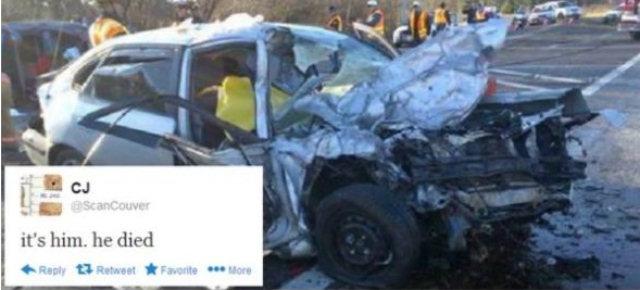 Twitta la foto del marito appena morto in un incidente