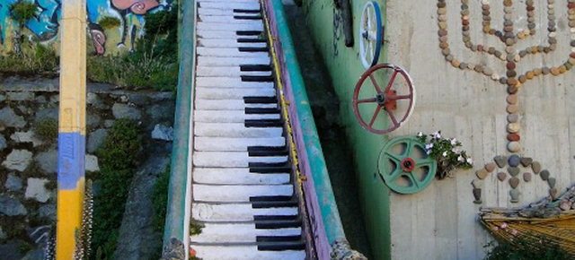 La scala pianoforte a Valparaíso, Cile