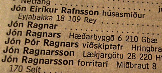 In Islanda elenchi ordinati per nome