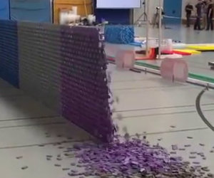128 mila tessere del domino creano uno spettacolo da record