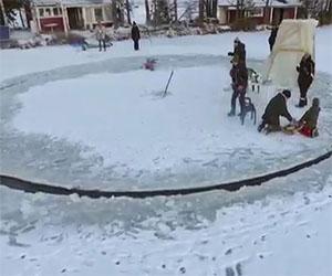 Tagliano un cerchio nel ghiaccio, il motivo è geniale