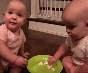 Tutta la gioia di due gemelline che si dividono i dolci