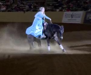 Entra nell'arena col suo splendido cavallo e lascia tutti a bocca aperta