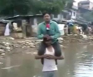 Giornalista non vuole bagnarsi