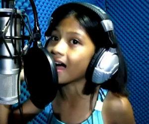 Bambina canta come Celine Dion