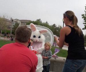 Coniglio di Pasqua fa cadere un bimbo