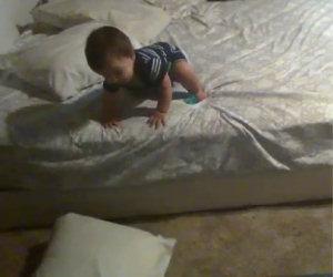 Il neonato si sveglia dal riposino ed ecco cosa combina