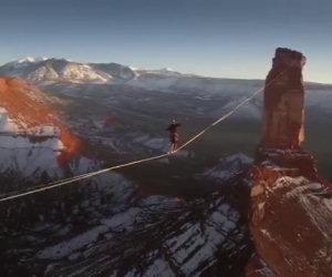 Sospeso su un filo sopra i cieli dello Utah, ecco l'incredibile record