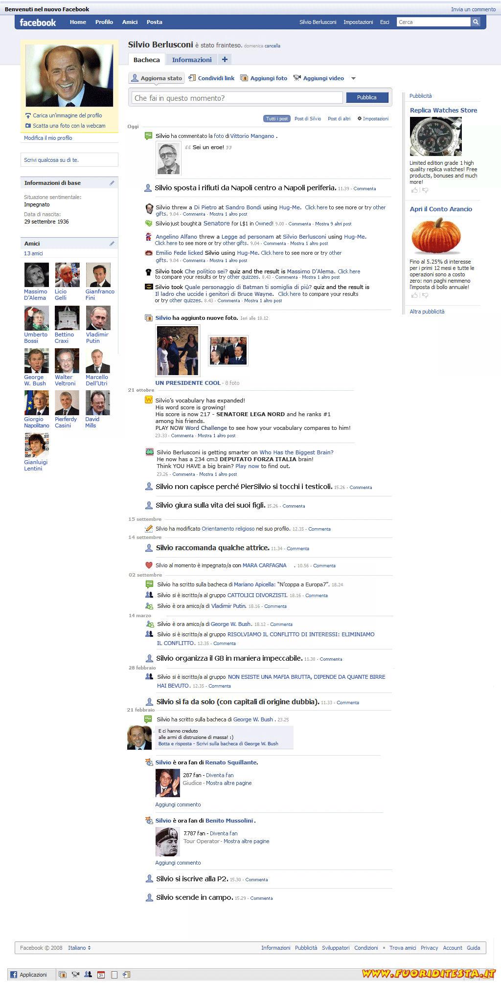 Facebook di Berlusconi