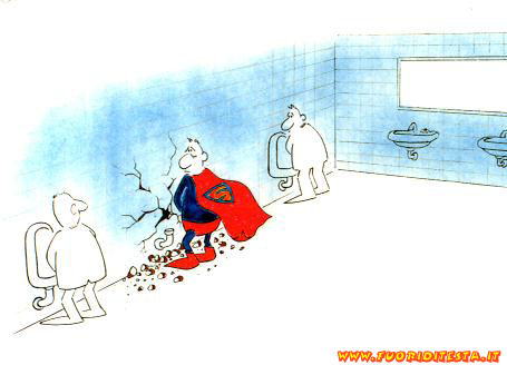 Superman in bagno