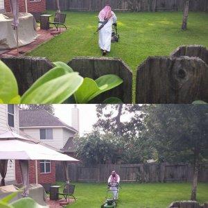 Tagliare l'erba con un AK-47