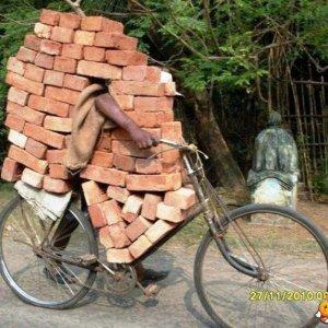 Trasporto mattoni... in bicicletta!