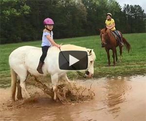 Il cavallo della bambina decide di giocare nel fango