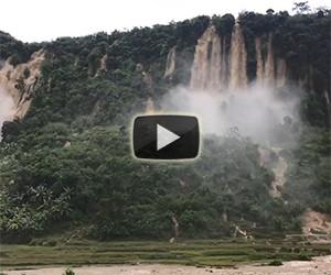 Una enorme frana crea delle incredibili cascate