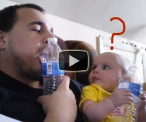 Il papà inizia ad imitare il figlio, la sua reazione fa morire da ridere