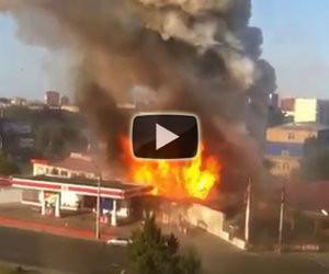 Stazione di servizio esplode